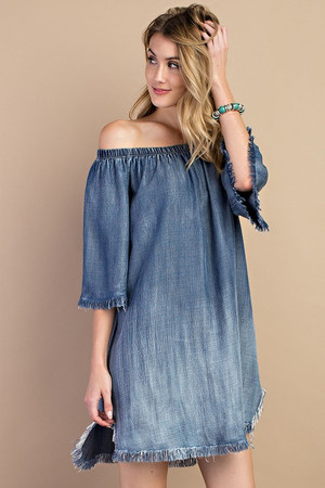 DISTRESS OFF THE SHOULDER DENIM DRESS