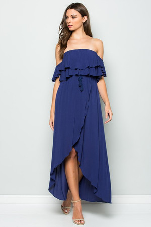 OFF THE SHOULDER RUFFLED MAXI DRESS