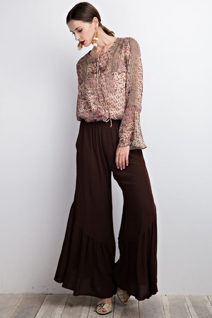 WIDELEG FLARE PANTS IN COFFEE