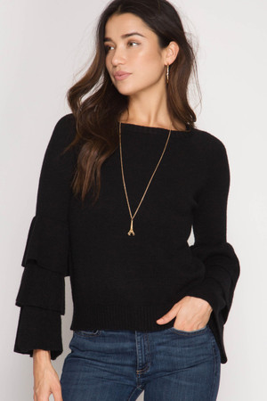 BLACK LONG TRIPLE RUFFLED BELL SLEEVE PULLOVER SWEATER