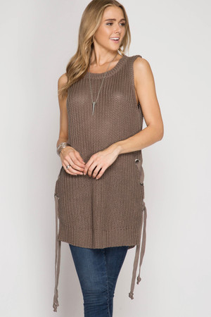 SLEEVELESS SWEATER TUNIC SWEATER