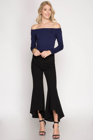 HI-LOW HEAVY KNIT FLARED MIDI PANTS WITH SIDE ZIPPER