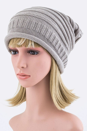 Raised Knit Slouchy Beanie