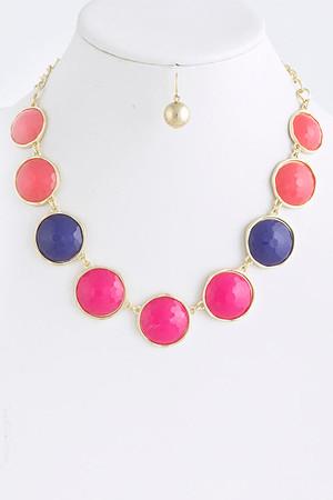 Round Jewel Necklace Set Fuchsia