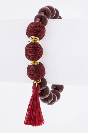 Copy of Yarn Balls & Tassel Stretch Bead Bracelet