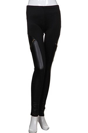 Faux Leather Insert Leggings Black Out Of My Kloset