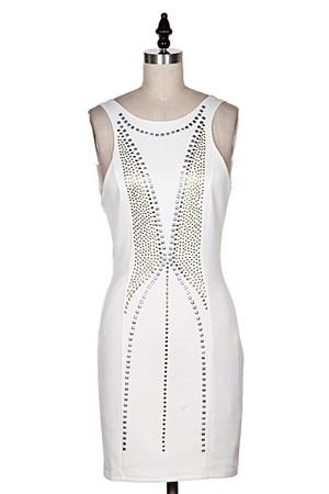 Stud Scuba Dress Off White