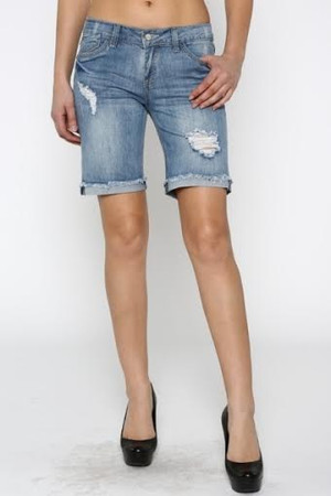 Ripped Bermuda Denim Short