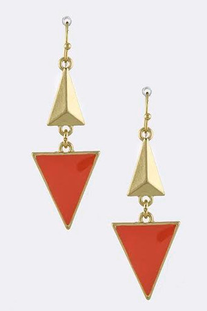 DANGLE TRIANGLE EARRINGS CORAL