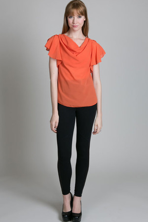 Ruffle Cowl Neck Top by Ya Los Angeles