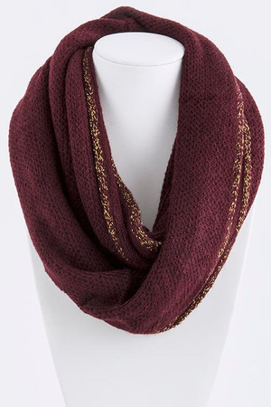 GOLD EDGE KNIT INFINITY SCARF WINE