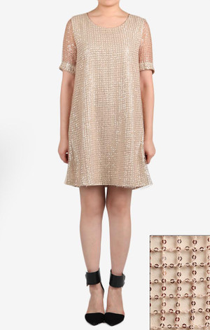 Holiday Sequin Shift Dress Beige