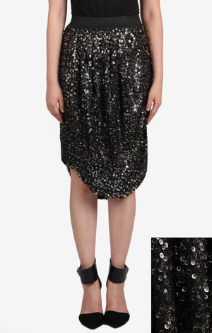 Draped Skirt w/Two Tone Sequins