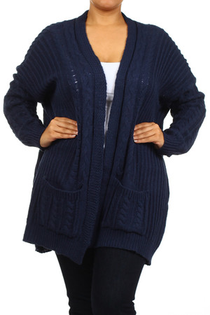 Cable Knit Cardigan Navy Plus Size