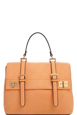 2in1 Fashion Designer Satchel Bag with Long Strap Orange