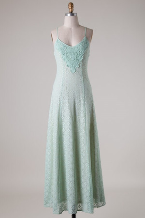 Lace Mint Maxi Dress