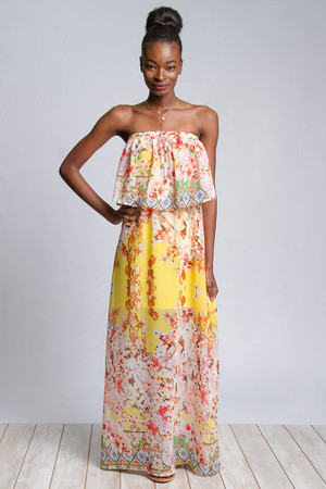 Border Print Tube Top Maxi Dress