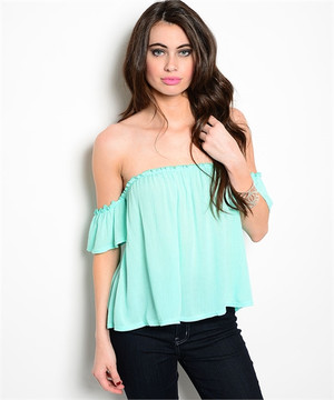 Off The Shoulder  Emerald Top