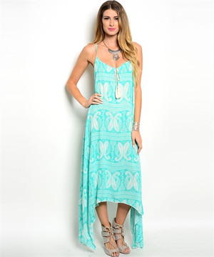 HANDKERCHIEF MINT & WHITE MAXI  DRESS