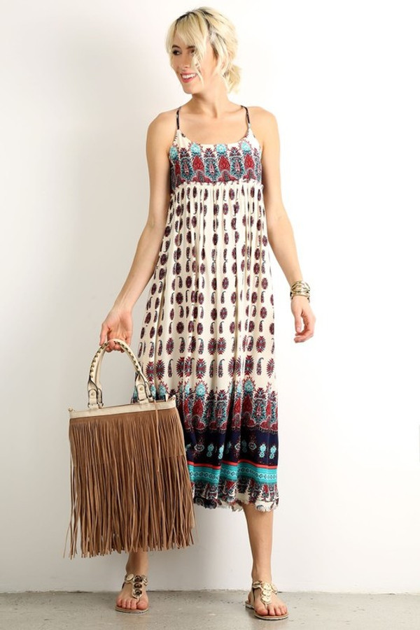 MULTI COLOR PRINT MAXI DRESS