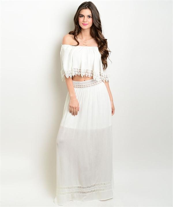 Detail Maxi Off White Skirt