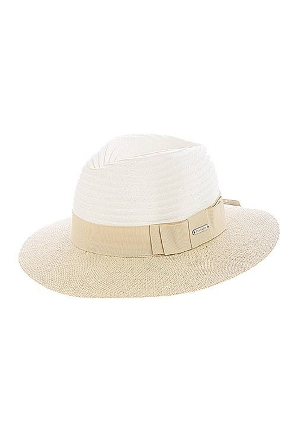 TWO TONE RIBBON ACCENT WOVEN HAT TAN