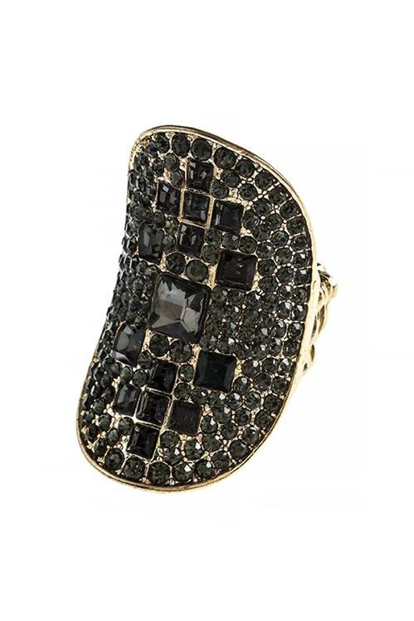 CONCAVE CRYSTAL ENCRUSTED STRETCH RING BLACK