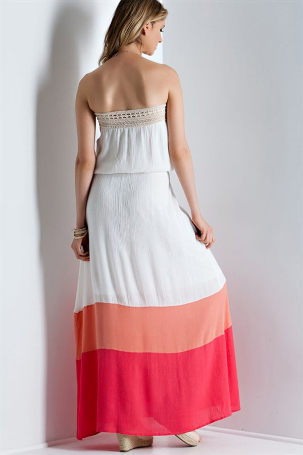 CRINKLE MAXI COLOR BLOCKED TUBE DRESS