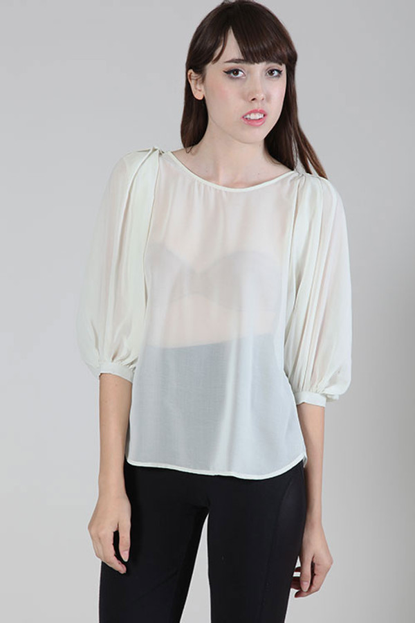 3/4 Sleeve Top Cream by Ya Los Angeles