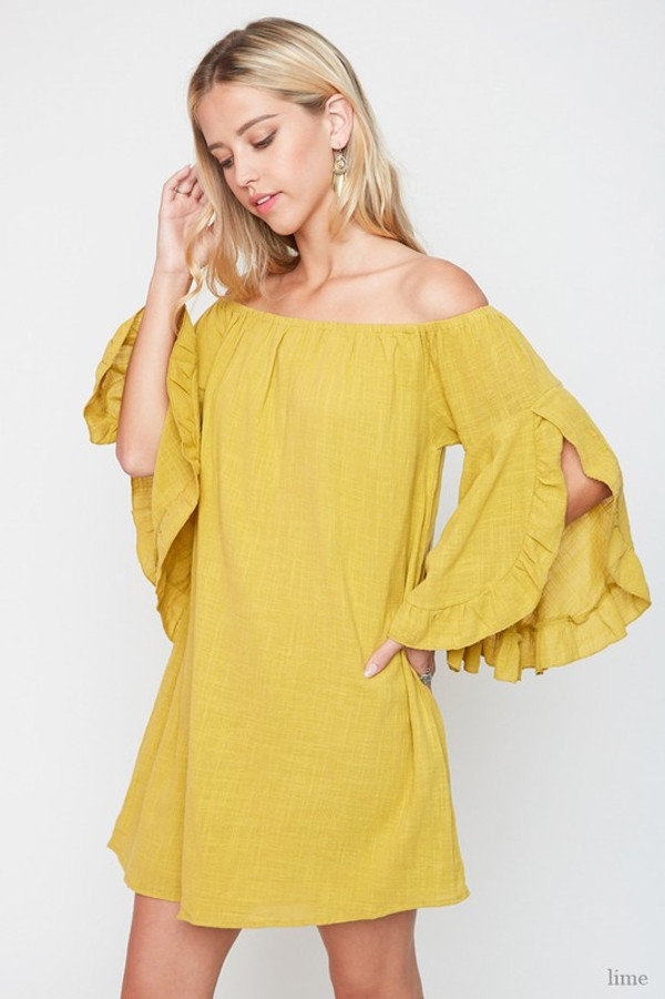 LIMEADE OFF THE SHOULDER DRESS WITH RUFFLES