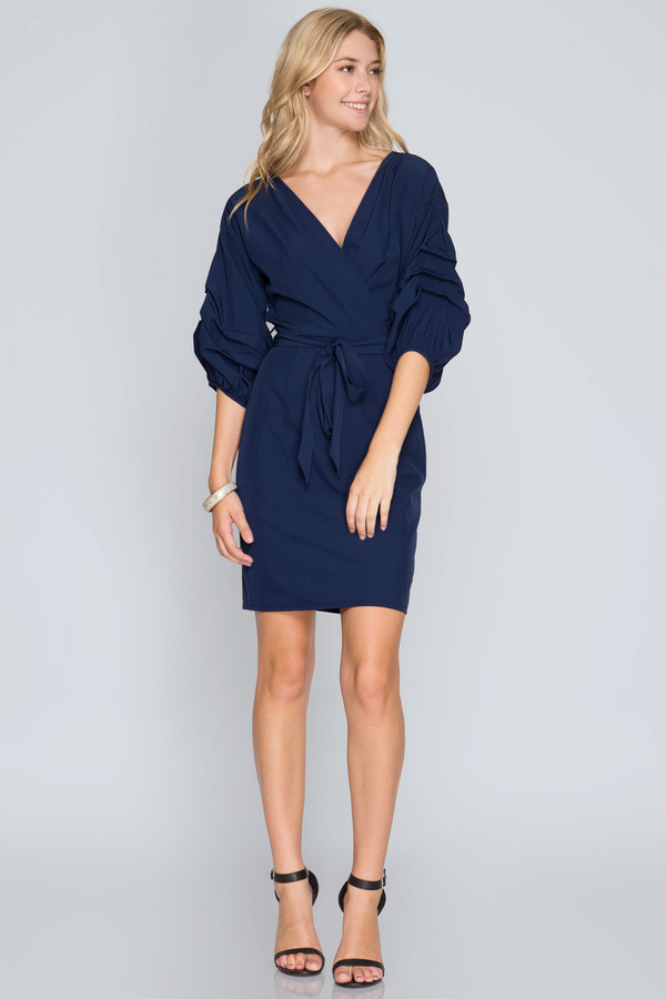 3/4 BUBBLE SLEEVE WRAP DRESS