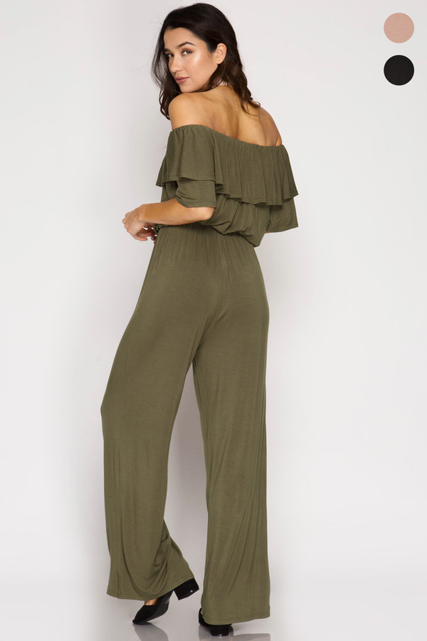 OLIVE RUFFLED SLEEVE OFF THE SHOULDER JUMPSUIT