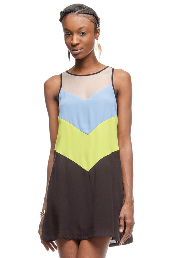 Sleeveless Black & Blue Color Block Dress