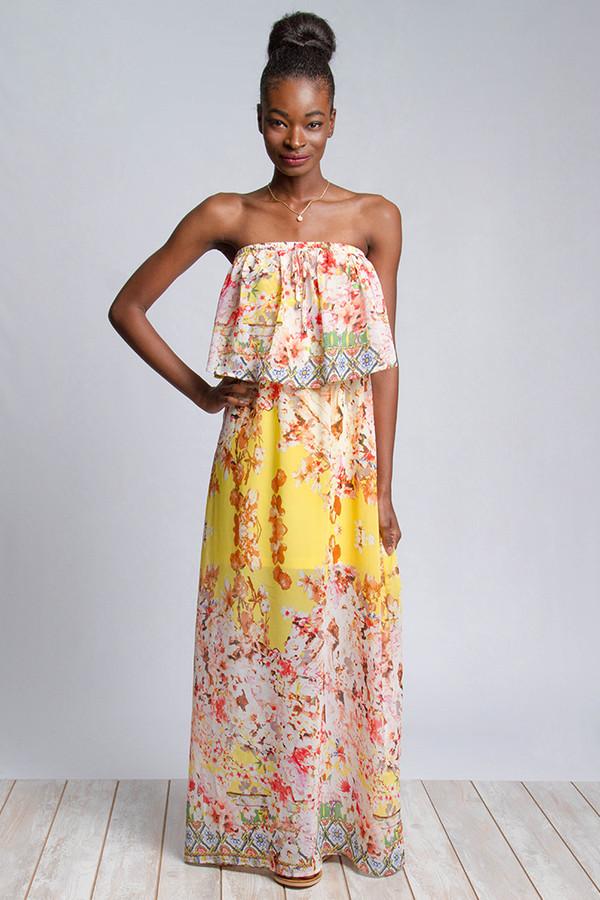 Border Print Tube Top Maxi Dress
