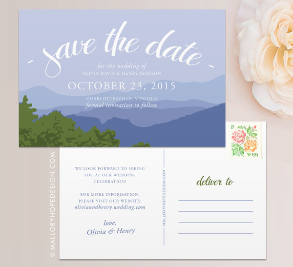Blue Ridge Mountain Range Save the Date
