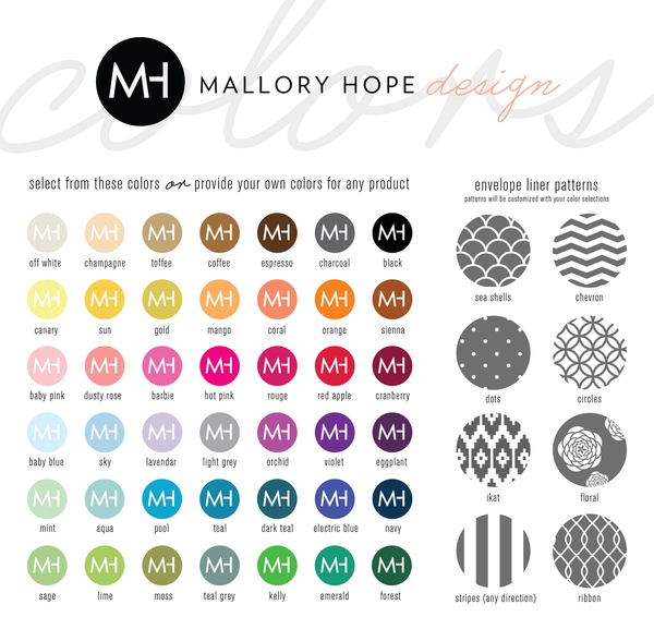 Mallory Hope Design Colors and Pattern Options