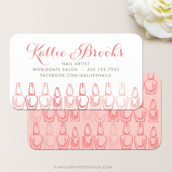 Nail Artist Business Card, Nail Salon Business Card in Dusty Rose