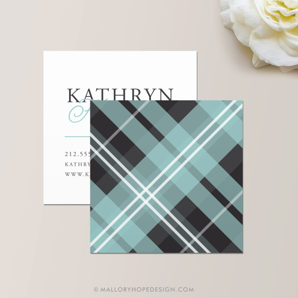 Plaid Square Business Card Back in Aqua and Charcoal