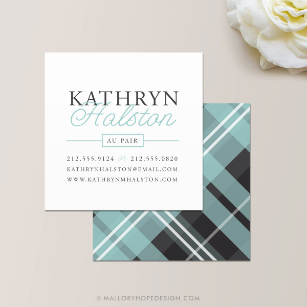 Plaid Square Business Card in Aqua and Charcoal
