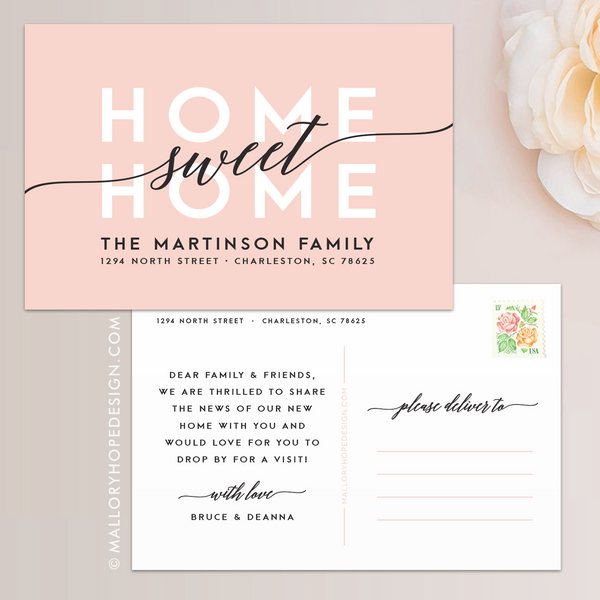 Home Sweet Home Moving Announcement, Moving postcard, new address card