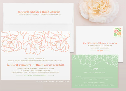 Pretty Peony Wedding Invitation
