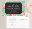Glam Floral Save the Date in Teal Floral