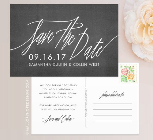 Signature Script Chalkboard Save the Date