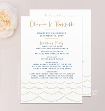 Ocean Wave Wedding Program A7 Flat Card