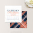 Plaid Square Business Card  in Navy and Coral