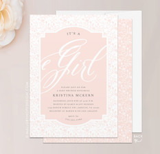 Dainty Baby Shower Invitation - It's a Girl!