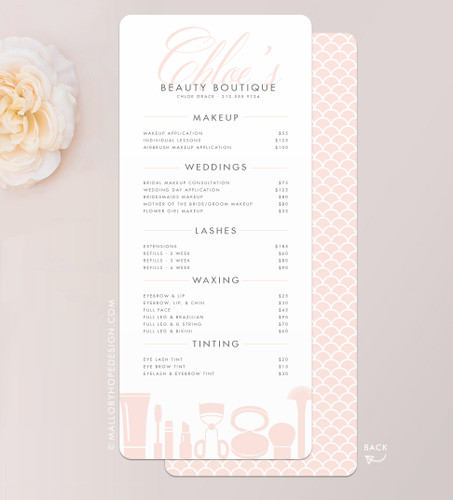 Grace Makeup Artist or Cosmetologist Services Menu / Salon Price List