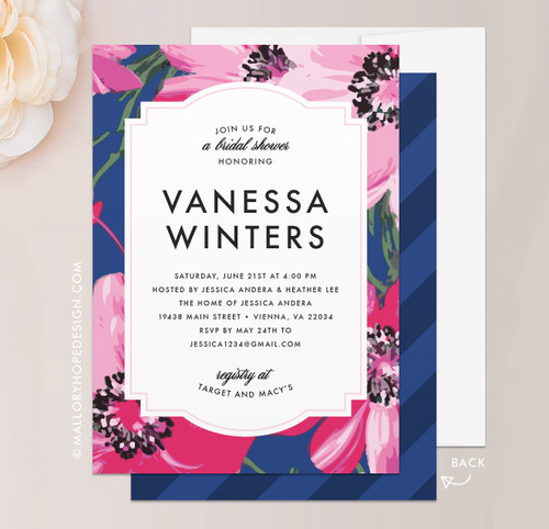 Poppy Floral Bridal Shower Invitation