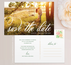 Fancy Script Photo Save the Date