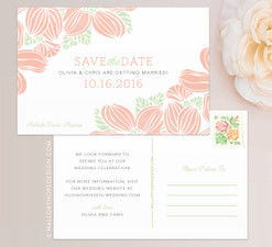 Tropical Flowers Save the Date